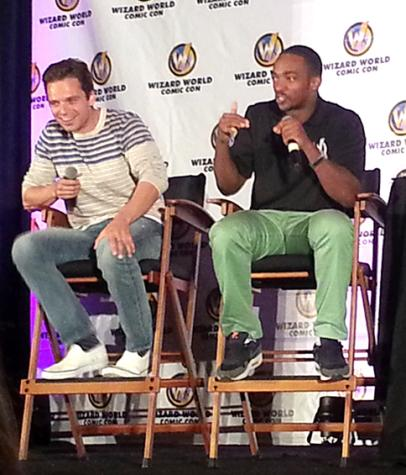 "Sebastian Stan and Anthony Mackie from ""Captain America: The Winter Soldier"" at their panel."
