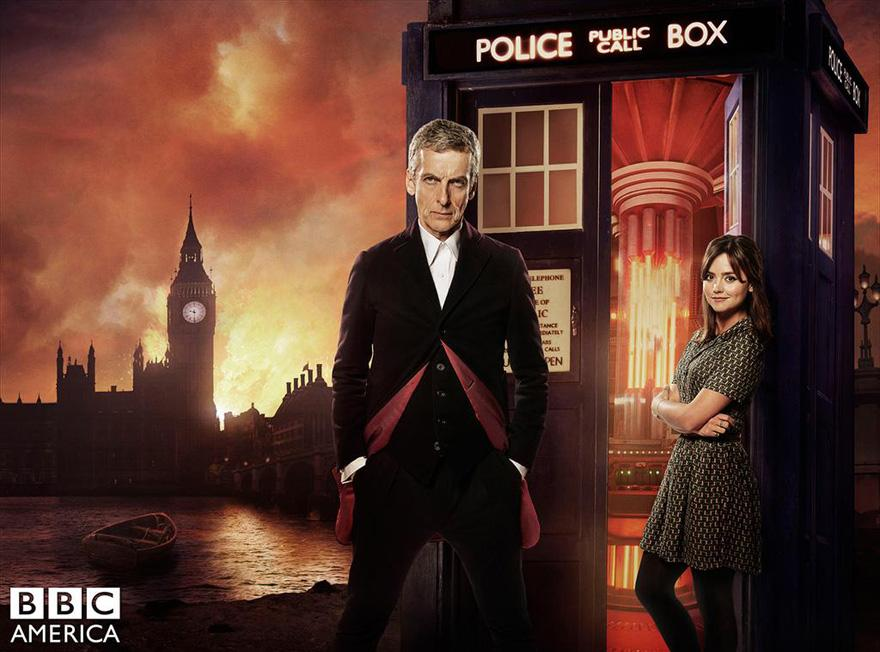Peter+Capaldi+%28The+Doctor%29+and+Jenna+Coleman+%28Clara%29+looking+mature+in+their+season+eight+promotional+picture.+