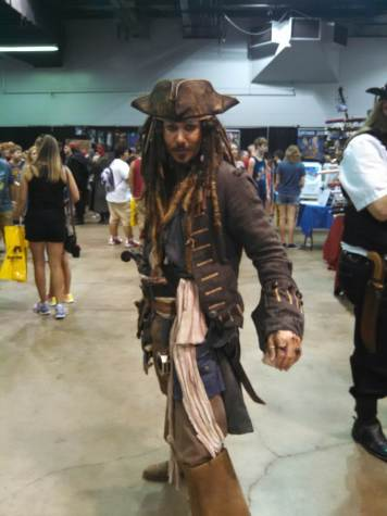"This Jack Sparrow from ""Pirates of the Carribean"" had the perfect costume. He even talked with an accent like Jack's for the whole day!"