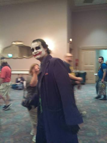 "A creepy-looking cosplay of The Joker from Christopher Nolan's ""The Dark Knight."" He approached my brother and I while we were waiting in line for the ""Gotham"" panel to begin and started reciting lines from the movie with amazing accuracy!"