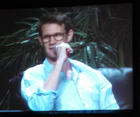 "A closeup of Matt Smith, the actor who played the Doctor on ""Doctor Who"", at the convention's Doctor Who Dual VIP panel."