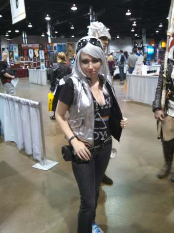 "A genderbent cosplay of Pietro Maximoff, or Quiksilver, from ""X-Men: Days of Future Past."""