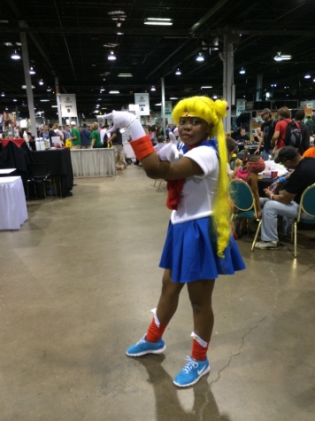 "A beautiful cosplay of Sailor Moon from the anime and manga, ""Sailor Moon."""