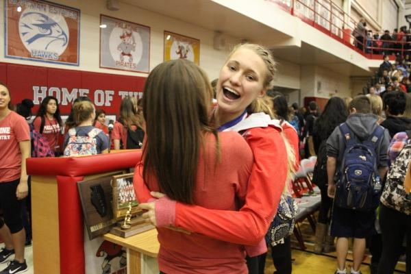 Amy Kieliszewski (15) celebrates at the recognition assembly.