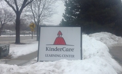 The Kindercare sign immediately across the street from Winston Campus is still visible through the snow