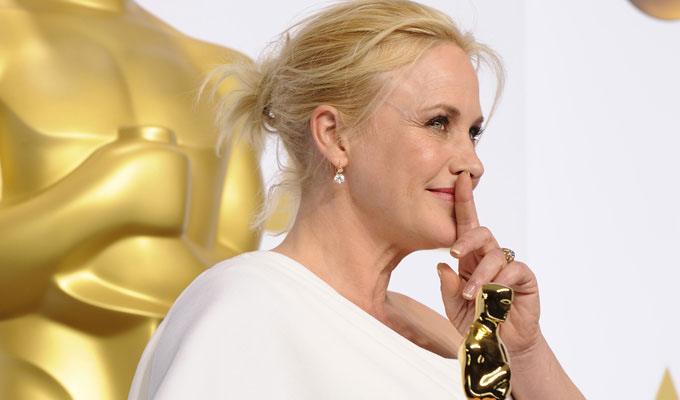 Patricia Arquette poses in the press room after winning the Best Actress in a Supporting Role award for ''Boyhood'' during the 87th Academy Awards on Sunday, Feb. 22, 2015, at the Dolby Theatre in Hollywood.