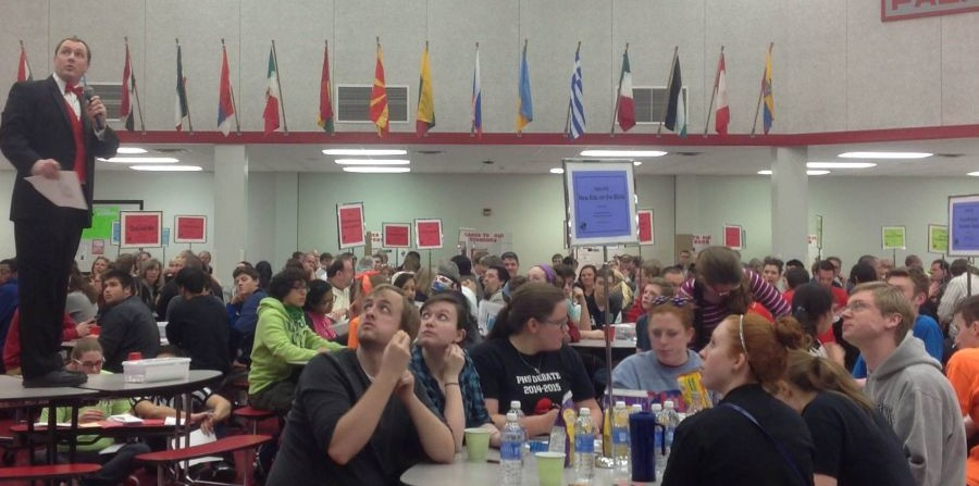 Students participating in trivia night, an activity that celebrates learning.