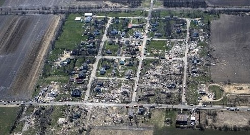 This aerial photo shows the destruction after a series of tornadoes that swept through the small town of Fairdale, Ill., in DeKalb County Thursday night.