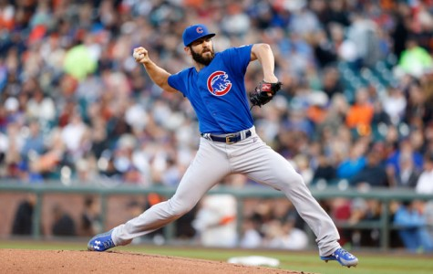 Chicago Cubs starting pitcher Jake Arrieta works against the San Francisco Giants in the first inning at AT&T Park in San Francisco on Tuesday, Aug. 25, 2015.