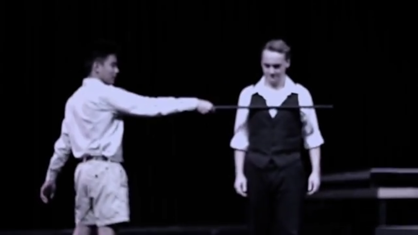 Sophomores Tyrus Angeles and Danny Hollander walk through a key scene in Romeo and Juliet.