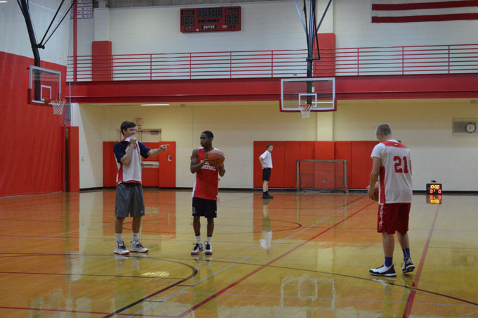 The varsity team practices as they ready for the season.