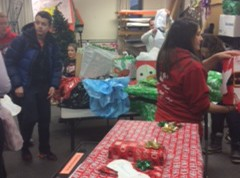 Student council collecting presents for the Adopt an Angel program.
