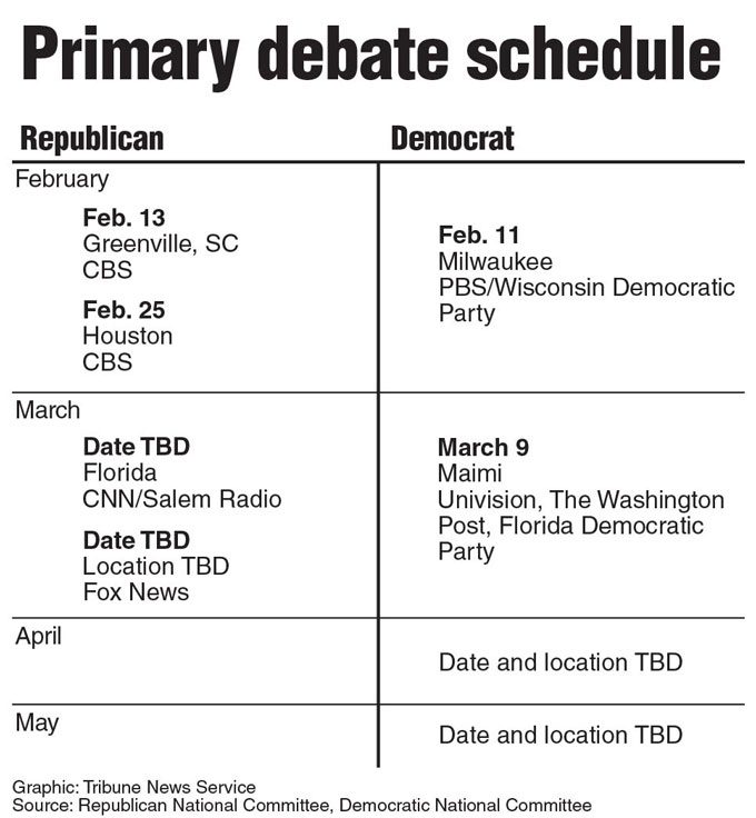 Schedule of upcoming presidential debates.