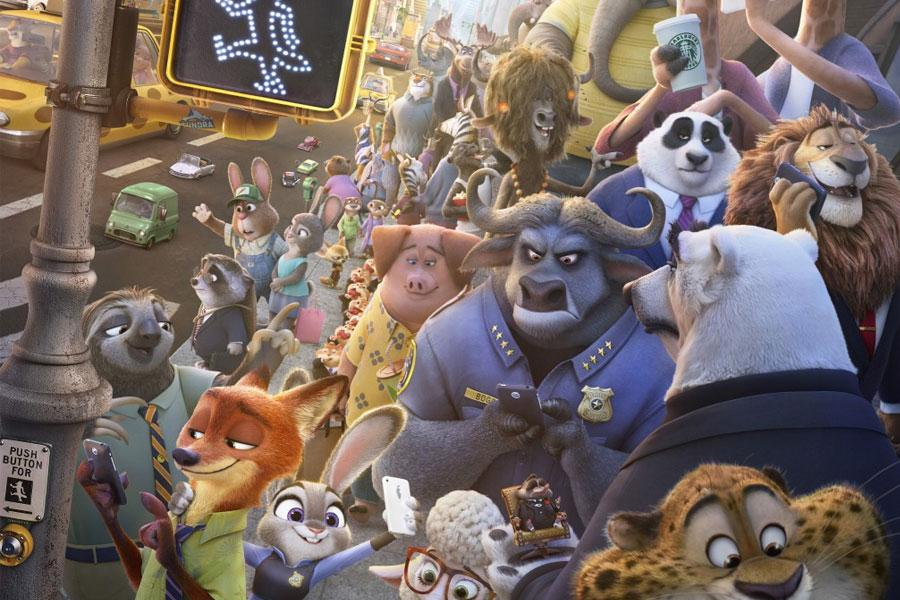 Most of the marvelous characters from Zootopia.