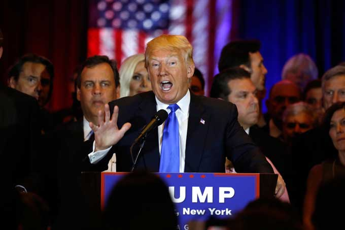 Republican presidential candidate Donald Trump addresses the media after his sweep of five states primaries on Tuesday, April 26, 2016, in New York.