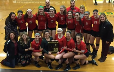 The Palatine varsity volleyball team celebrates their regional championship.