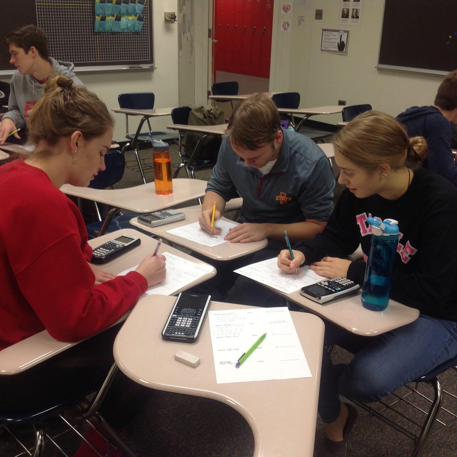 Trig students take a pretest.