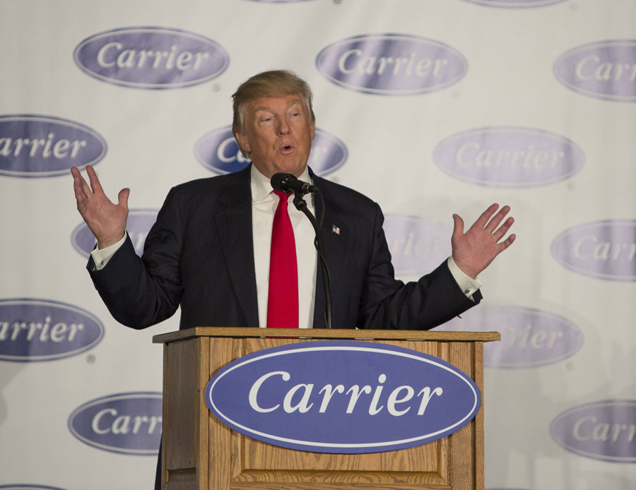President-elect Donald Trump toured the Indiana Carrier factory. Trump announced a deal struck with Carrier executives to keep nearly 1,000 jobs in the U.S. in his first public appearance since his election on December 1, 2016 in Indianapolis, Indiana.