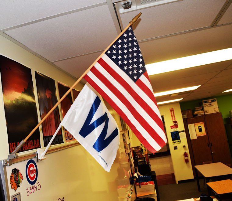 Every classroom at Palatine High School has an American flag for the pledge.