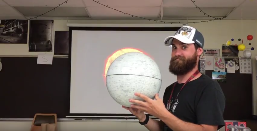 Hoffman+Estates+science+teacher%2C+Tyler+Michie+displays+the+earths+relationship+to+the+sun+during+the+eclipse.+