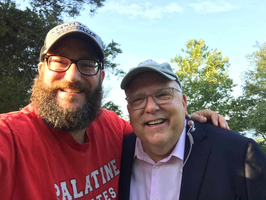 Palatine High school teacher Sean Fisher-Rohde and meteorologist Tom Skilling on the day of the eclipse.