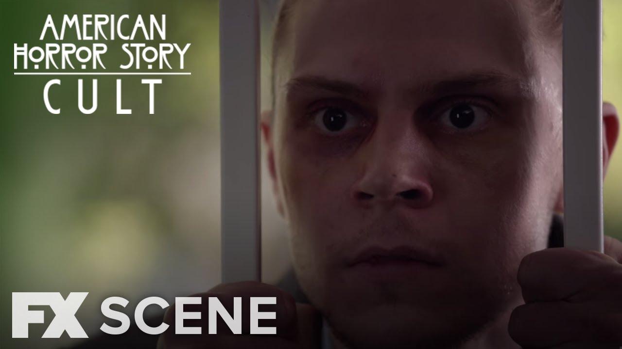 Evan Peters looks on menacingly in season seven of American Horror story.