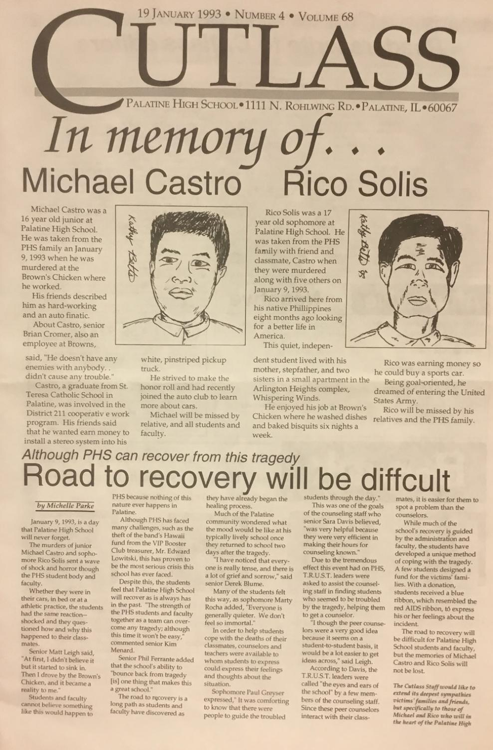 Front page from the Jan 1993 edition of the Cutlass covering the Brown's Chicken massacre.