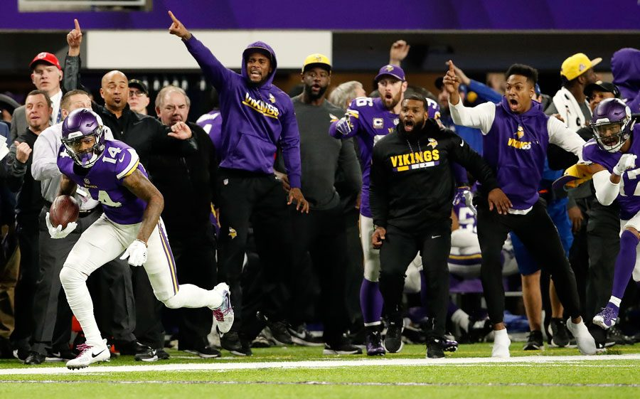 Minnesota+Vikings+receiver+Stefon+Diggs+scores+a+61-yard+touchdown+to+win+the+game+against+the+New+Orleans+Saints+on+January+14%2C+2018%2C+at+U.S.+Bank+Stadium+in+Minneapolis.+