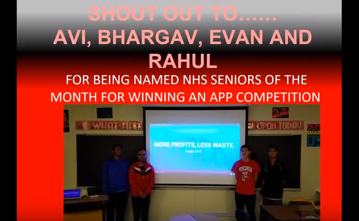 Screen shot of PTV's Shoutout video from Jan 12, 2018 showing seniors Bhargav Yadavalli, Aviral Saxena, Evan Eckels, and Rahul Gudivada presenting their app.