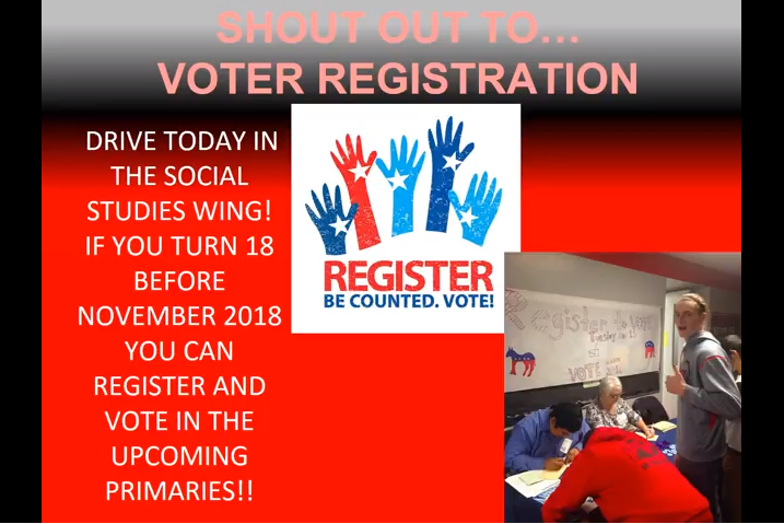 Screenshot from November shout out video encouraging students to register to vote.