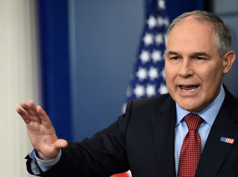 EPA Administrator Scott Pruitt speaks on June 2, 2017, during a briefing in the Brady Briefing Room at the White House in Washington D.C.