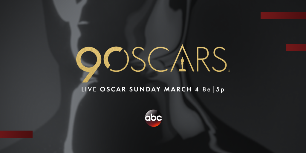 The 90th Oscars will be on March 4 on the ABC network.