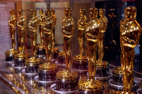 "Oscar statuettes that will be presented to winners at an Academy Award presentation are displayed at ""Meet the Oscars"" in the Times Square Studios on February 12, 2007."