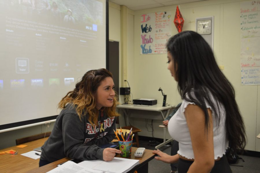 Brenda Moreno instructs in her sophomore English class. This weekend, she'll bring the debate team to state competitions in Springfield.