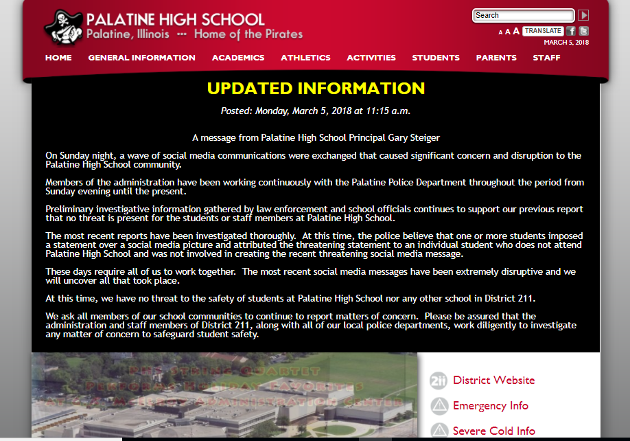 Screenshot of Palatine High School's website on Monday.