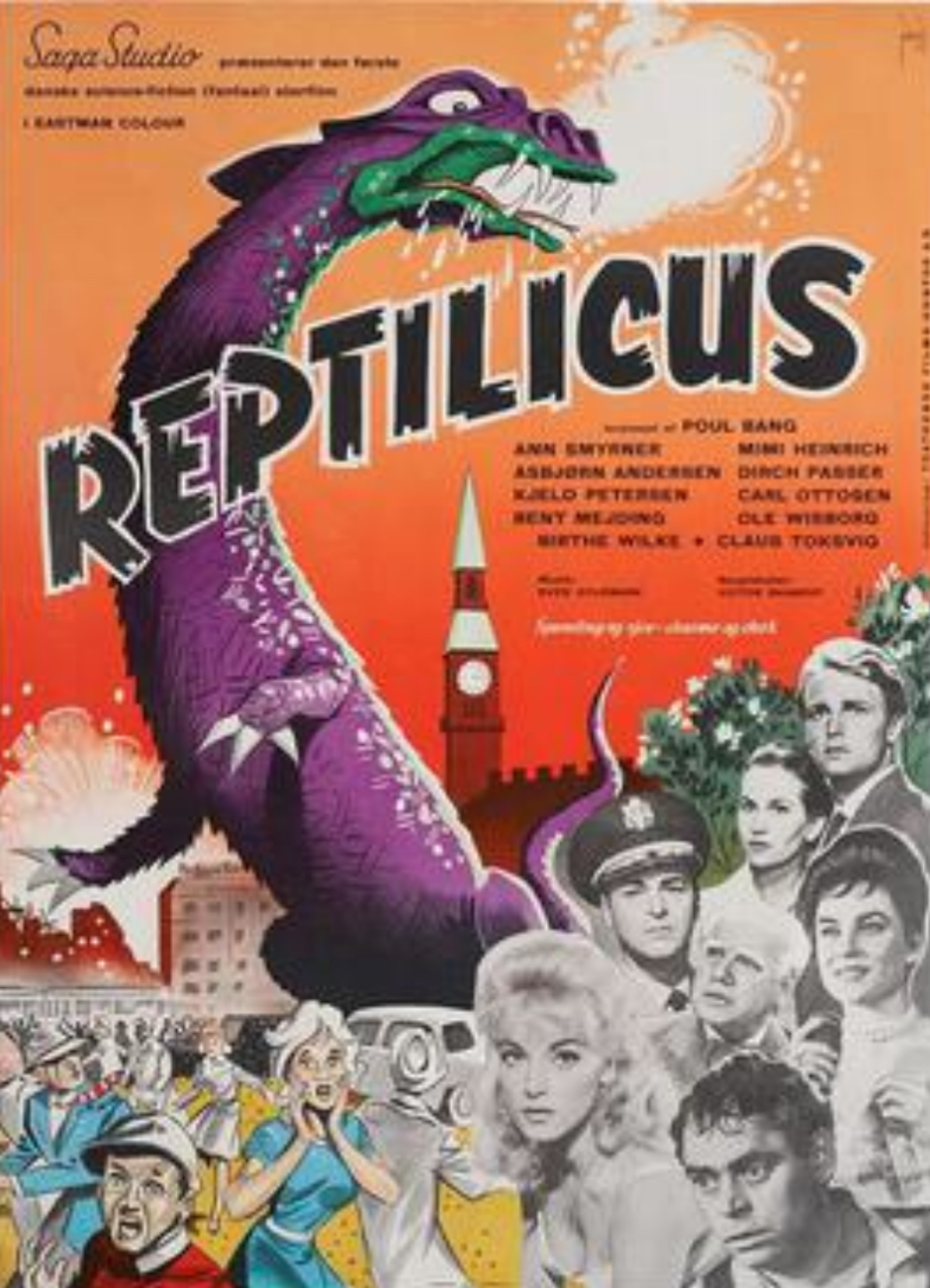 1961 Danish theatrical poster of Reptilicus