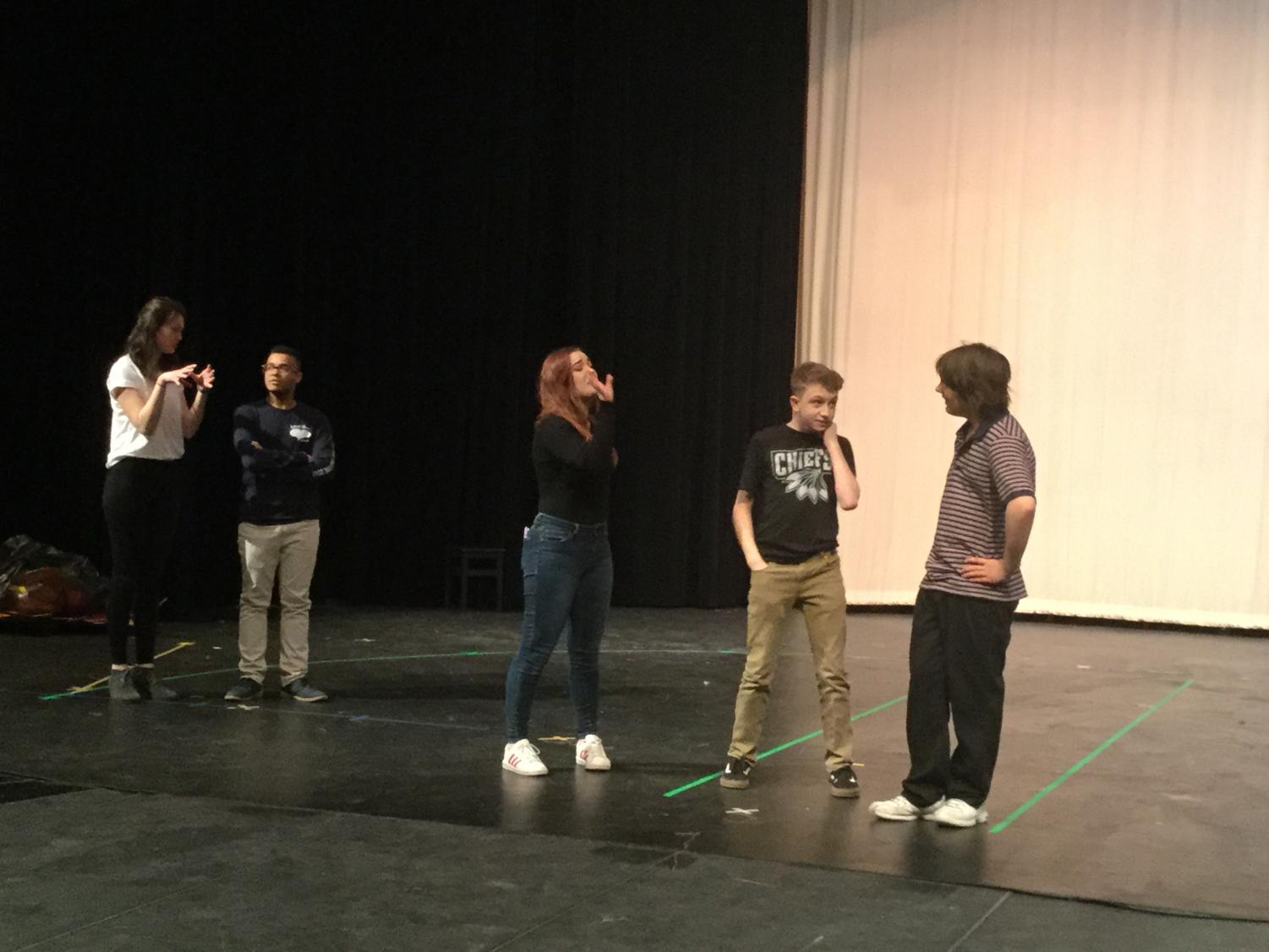 PHS improv students practicing for their last show of the 2017-2018 school year.