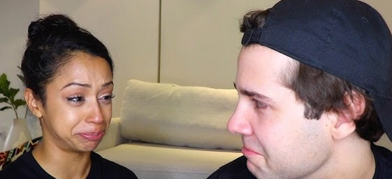 Liza Koshy and David Dobrik telling viewers about their breakup.