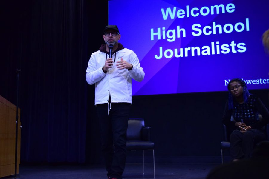 Kevin+Coval+speaks+to+high+school+journalists.+