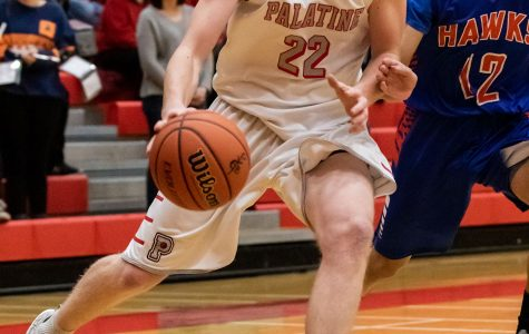 Sophomore Ben Storm drives past a guard in a game against Hoffman Hawks. Pirates won the game 54-46.
