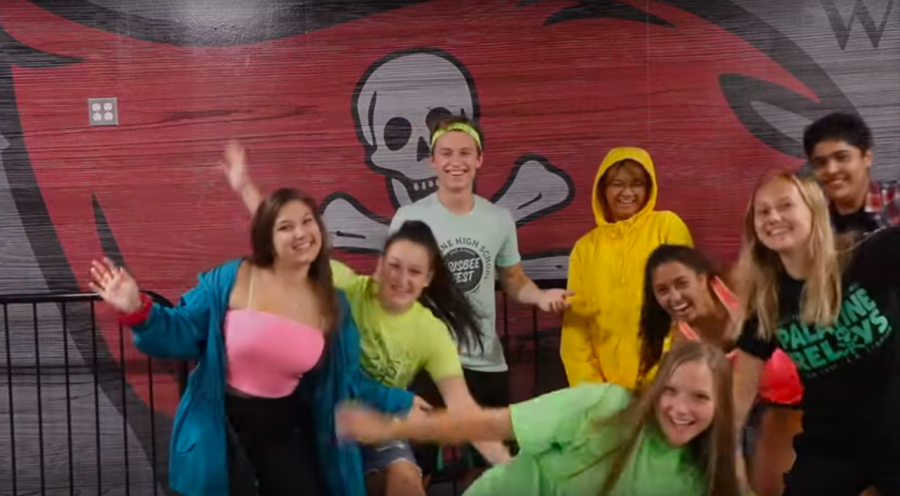 Student Council members flaunt Neon Day spirit wear for Homecoming 2019.