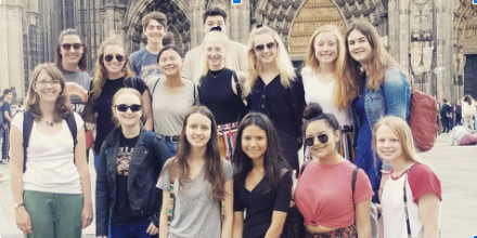 From last summer's trip, Palatine students and staff in Cologne in front of the cathedral.