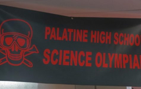 The banner of the PHS Science Olympiad hangs in the Biology hallway.