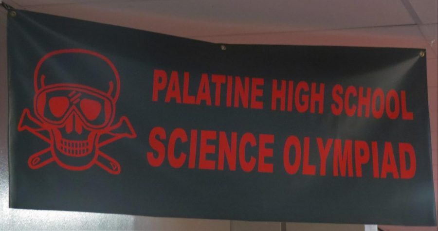 The+banner+of+the+PHS+Science+Olympiad+hangs+in+the+Biology+hallway.