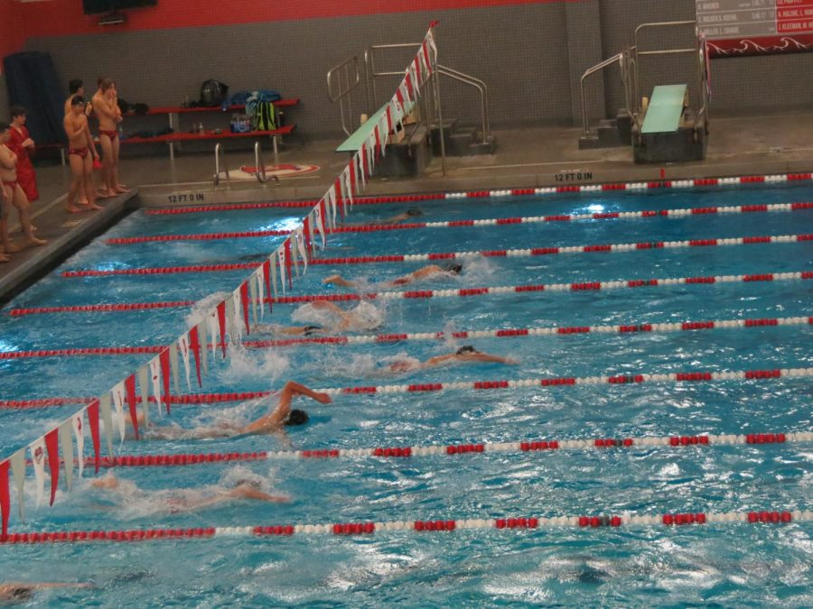 Swimmers compete in the 100 Free event.