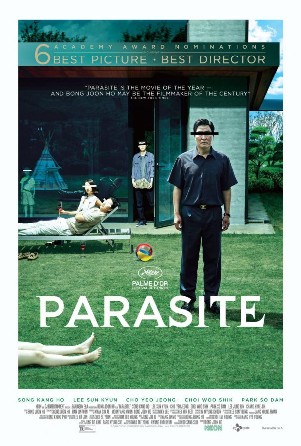 The film's poster featuring the Kim and Park families. Parasite won both Best Picture and Foreign Language.
