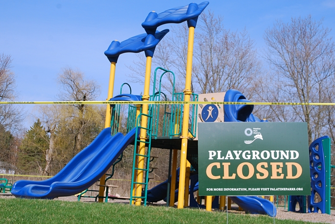 """Park Closed"" signs and caution tape were plastered all over Palatine and its parks."