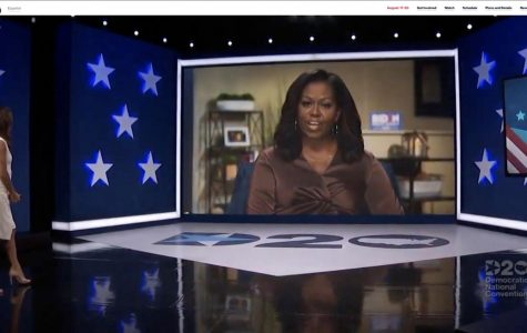 In this screenshot from the DNCC's livestream of the 2020 Democratic National Convention, actress and activist Eva Longoria, left, introduces Former First Lady Michelle Obama to address the virtual convention on Aug. 17, 2020.
