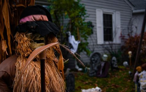 An ominous Scarecrow is watching over the haunted cemetery.