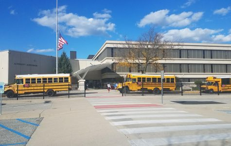 Busses line up to pick up students at the end of the school day. ELL and special education students have started attending in person if the so choose.